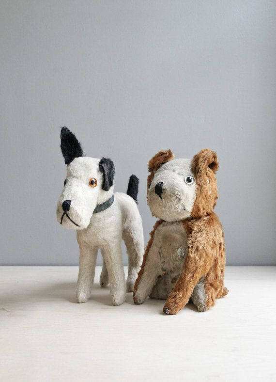 Antique straw stuffed dog toys. The Victorian Dog Parlour and a Victorian dog on wheels. #AmazingSpaces #Victorian #DogOnWheels http://mycoolhomepage.com/victorian-dog-grooming-parlour-and-my-amazing-spaces-dog-on-wheels/