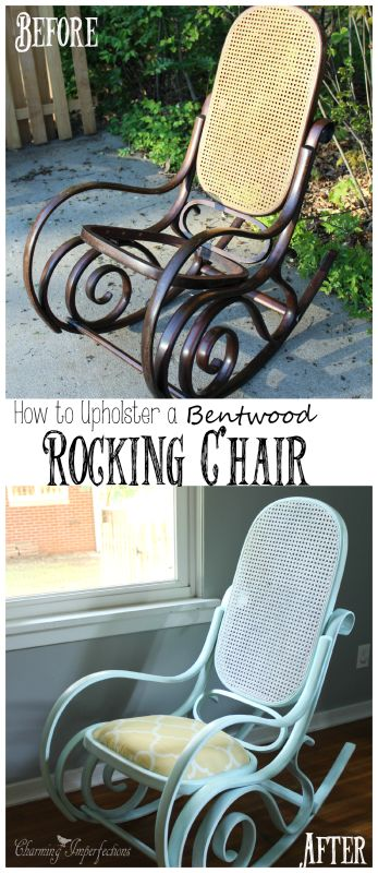 DIYers! Don't miss this awesome post on how to add upholstery to a rocking chair like this beautiful bentwood Rocker!