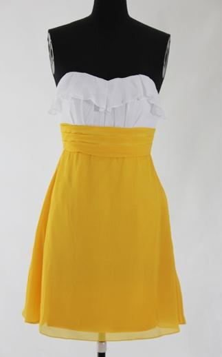 Chiffon White & Yellows A-line Strapless Knee-length Sweetheart #Bridesmaid #Dress Style Code: 07484 $79: Yellows A Line, Bridesmaid Dresses, Dress Pics, Bridesmaid Dress Styles, Oi Dress