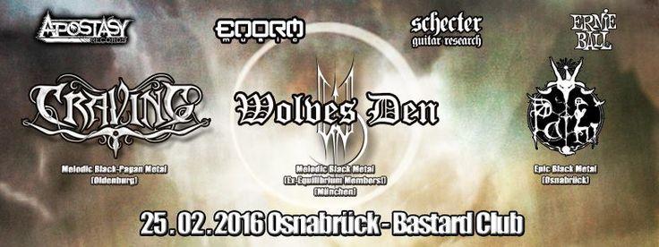 """http://polyprisma.de/wp-content/uploads/2016/03/Osna_Will_Burn_II.jpg Osna will burn II 25.02.2016 Bastard Club, Osnabrück http://polyprisma.de/2016/osna-will-burn-ii-25-02-2016-bastard-club-osnabrueck/ Heftige Party mit Craving, Wolves Den und Path Die Oldenburger Melodic Death-Metal Band """"Craving"""" ist derzeit zusammen mit """"Wolves Den"""" aus München und """"Path"""" aus Osnabrück auf Tour durch Deutschland, Belgien, Frankreich, die Niederlan"""