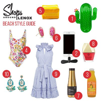 Beach 1. Sunnylife Cactus Float- @fabrikbuckhead 2. iPhone Mini Fan- @papersource 3. Pear Pleasure Juice- @rootsjuices 4. Roseanna Floral Swimsuit- @shoptootsies 5. Plank Yellow Cosmetic Bag- @theimpeccablepig 6. Fuchsia Ellie Stud Earrings- @kendrascott 7. Gold Hot/Cold Bottle- @lululemon 8. Coral Nail Lacquer- @kendrascott 9. Briley dress by Alexis- @shoptootsies 10. Ranjana Kahn earrings- @shoptootsies