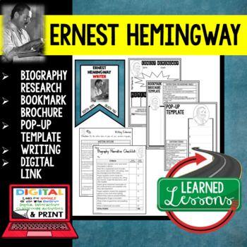 Ernest Hemingway Biography Research, Bookmark Brochure, Pop-Up, Writing, Digital Link for Google Classroom Use ➤Digital Link for Google Classroom ➤Biography Research Profile Page ➤Biography Bookmark Brochure ➤Biography Pop-Up Foldable for