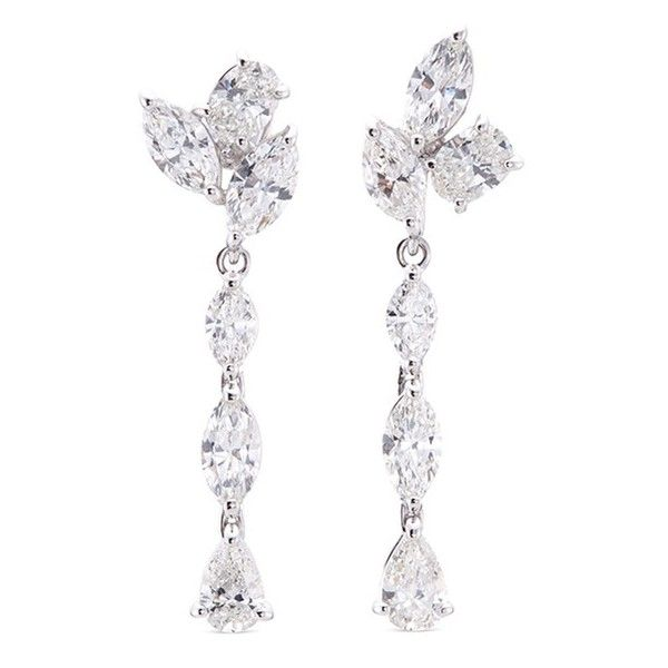 Anyallerie Diamond 18k white gold drop mismatched earrings ($25,340) ❤ liked on Polyvore featuring jewelry and earrings