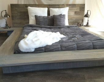 Weathered Driftwood Finish Platform Bed Base CA King