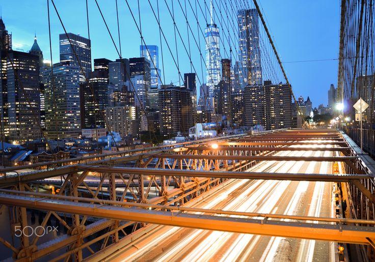 Long exposure at Brooklyn bridge - Downtown Manhattan long exposure shot from Brooklyn bridge.