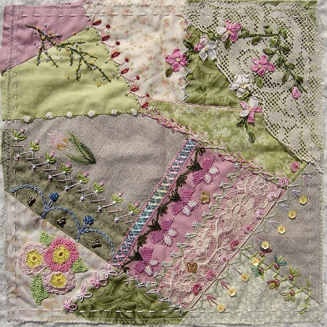 """I ❤ crazy quilting & ribbon embroidery . . . CQI RR Lisa B's block- First, I stitched all the empty seams with different threads & different stitches. I made the apple blossom branch in the corner on the lace piece. Then I sewed down the pink needle-lace """"oyas"""" flowers. I added all the beads to my seams & two glass butterflies. I didn't want to embroider too much on the fragile old lace. It is so nice that the pink plain fabric comes through. Now the block goes to Gerry K. ~By Ati, Norway"""