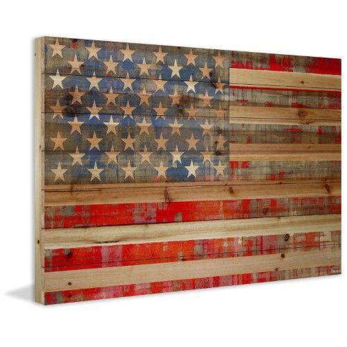 Parvez Taj Flag Wood Art: Parvez Taj American Dream Painting Print On Natural Pine