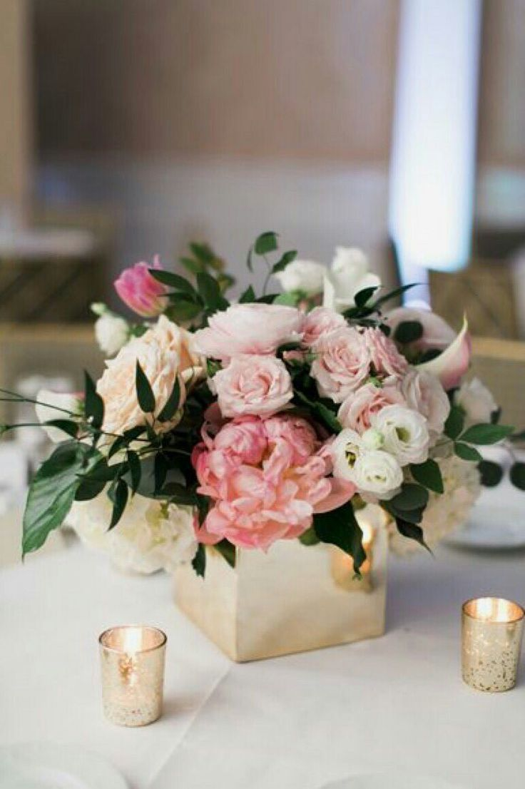 Blush Pink and White Low and Lush Wedding Centerpiece in Gold Square Vase // mecrury glass, peonies, roses, ranunculus, greenery
