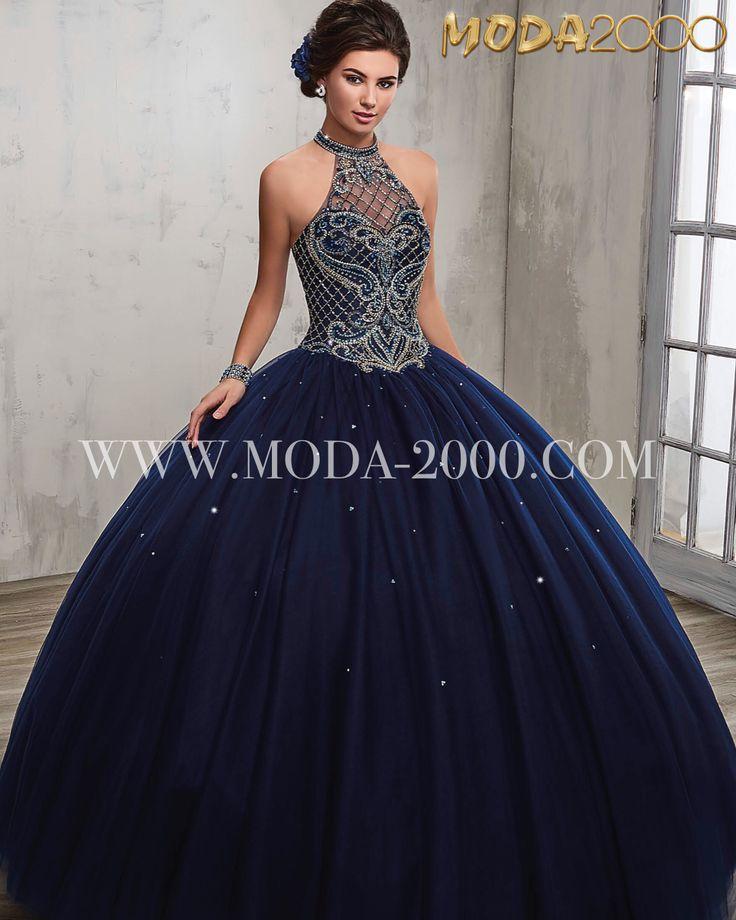 Beaded navy blue halter quinceanera dress | no ruffles available at Moda 2000 Instagram: @m ...