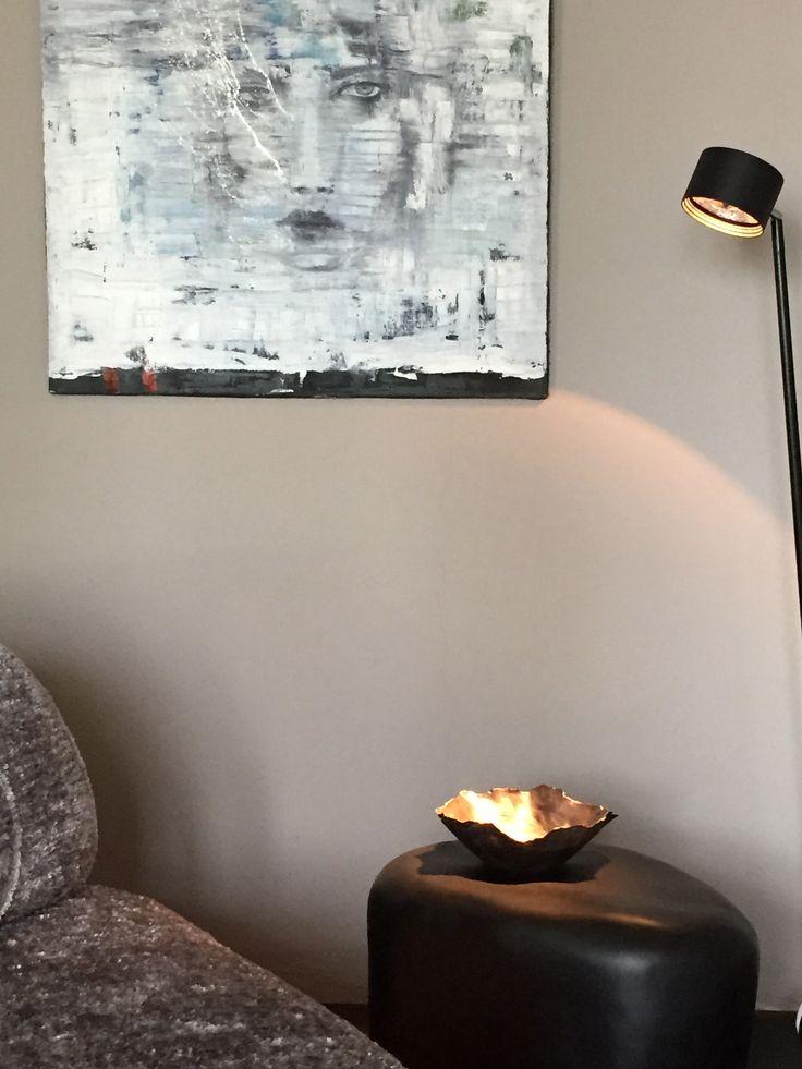 paintings by TK.Kim, side table slab, imperfettolab, indoor light sampei 230, davide groppi, sofa on the rocks, edra
