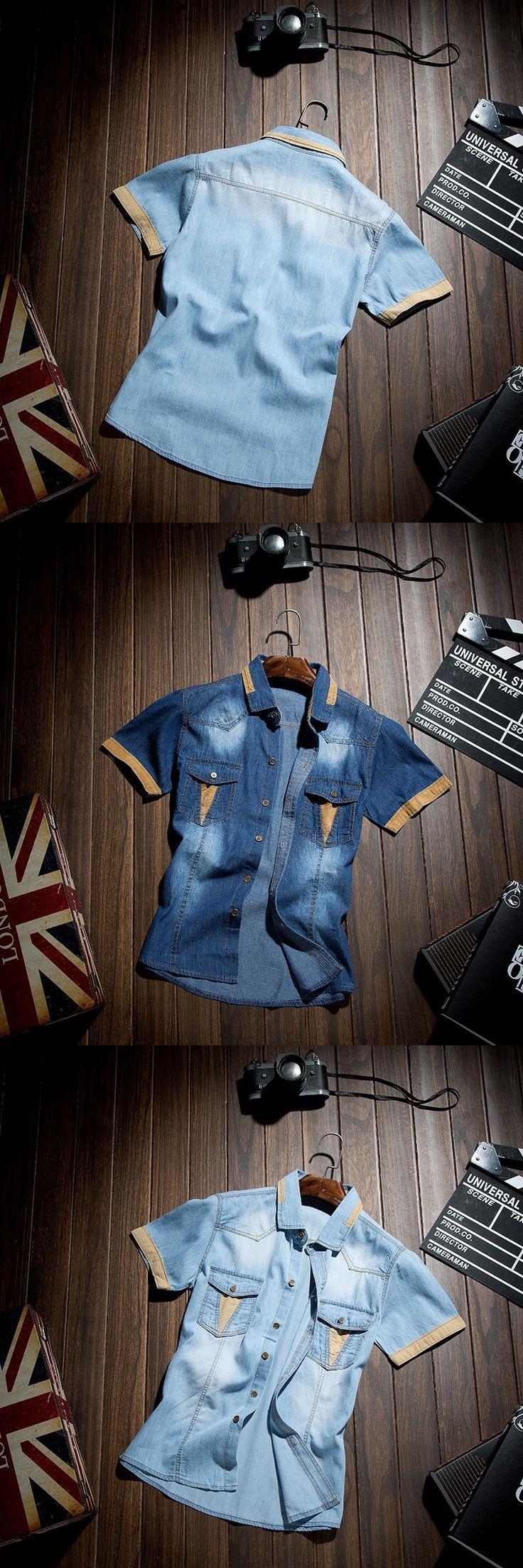 2017 Summer New Casual Slim Fit Camisa Mezclilla Hombre Short-sleeved Trendy Style Jeans Men Shirts Denim