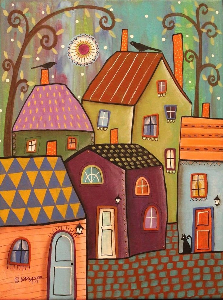 Tiny Towne 12x16 ORIGINAL CANVAS PAINTING houses cat FOLK ART Karla Gerard #FolkArtAbstractPrimitive