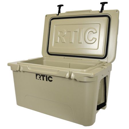 RTIC 45 in Mojave Tan - The lid handle extends a half inch past the cooler's edge. No more pulling on the T-latches to open the cooler. Using the latches to open the cooler could stretch the latches and make the seal less effective and thus cold air to escape the cooler.