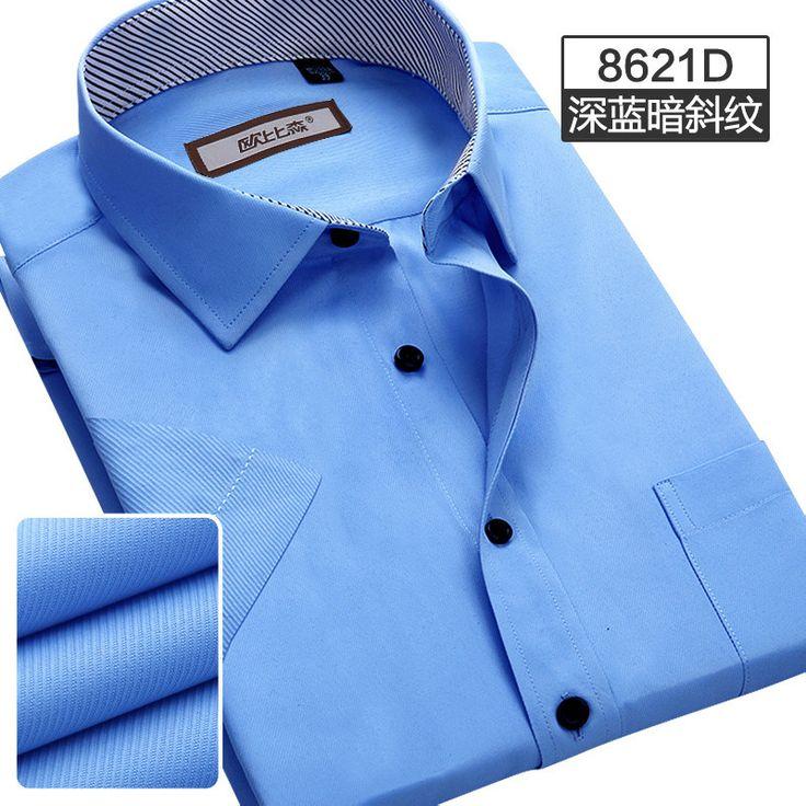 Brand Summer Men's Short Sleeve Shirt Business Casual Dress Shirt Solid Office Work Clothing Tops
