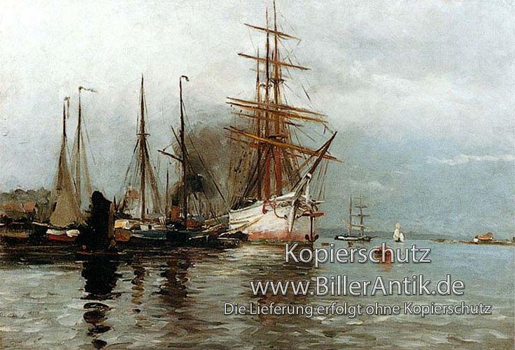 """""""Segelschiff im Flensburger Hafen"""", Heinrich Petersen.  Zweimaster Maritim"""