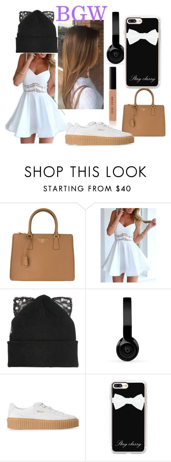 """""""BROWN,GOLD N WHITE"""" by summerun on Polyvore featuring beauty, Prada, Silver Spoon Attire, Beats by Dr. Dre, Puma, Casetify and Bobbi Brown Cosmetics"""