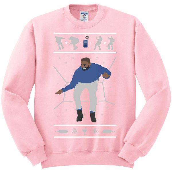 1-800 Hotline Bling ugly Drake Christmas Sweater UNISEX... ($25) ❤ liked on Polyvore featuring tops, sweaters, elephant print top, christmas tops, elephant sweater, going out tops and christmas party sweaters