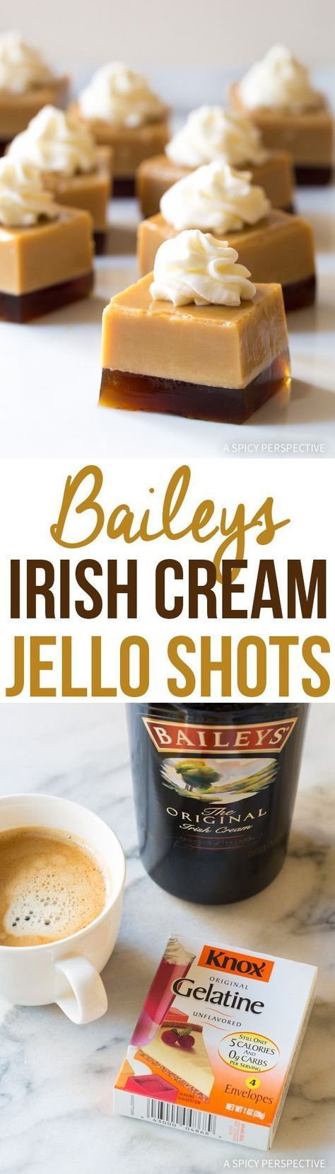 """5-Ingredient Baileys Irish Cream Jello Shots Recipe just in time for Saint Patrick's Day! These fun and festive """"grown-up treats"""" take no time to prep! Ingredients: 750 ml bottle Baileys Irish Cream liqueur 2 cups hot coffee or espresso 5 packets unflavored gelatin, divided 3 tablespoons granulated sugar Whipped cream Directions: Line a 9 XMore"""