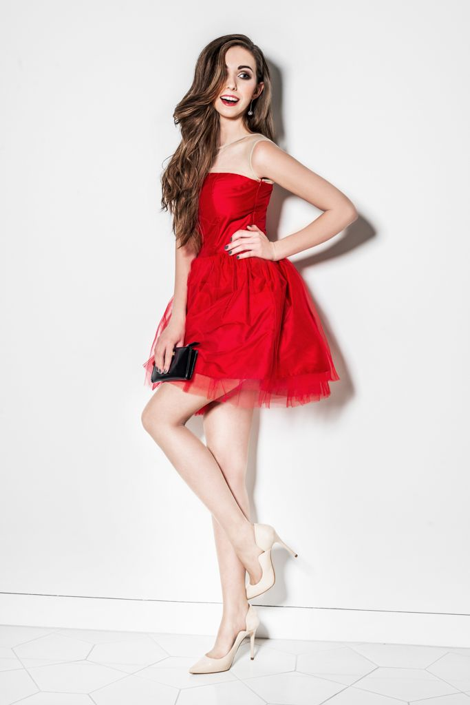 Silk dress with tulle