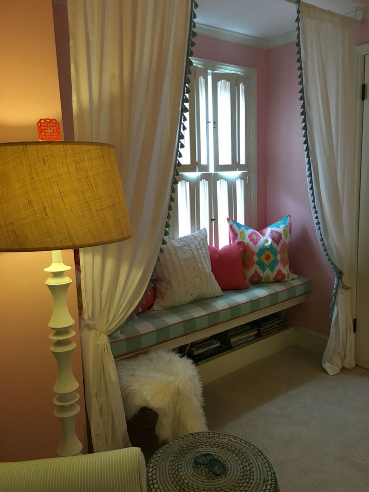 Little Girls Reading Nook With Custom Bench Cushion And