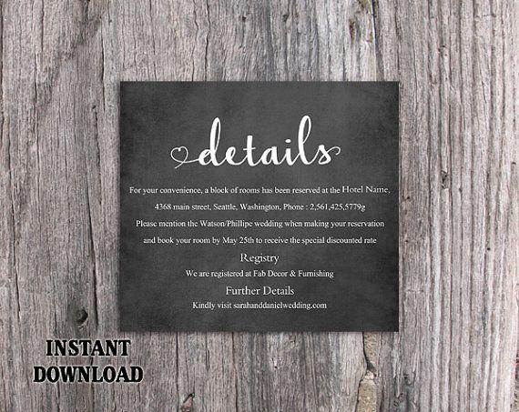 DIY Wedding Details Card Template Editable Word File Instant Download Printable Chalkboard Details Card Heart Details Card Enclosure Card by TheDesignsEnchanted