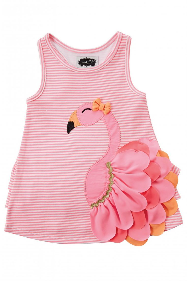"""What's frilly, pretty, and has more grace and style than any other animal in the land?? """"On The Flamingo"""", that's who!!! Having your little one be all the more frilly by flouncing around in this dress that will have her be the most fashionable in the flock!!! Striped interlock dress features layered nylon spandex flamingo applique with bow and ruffle at lower back. 100% Cotton."""