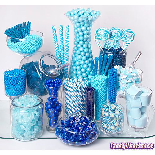Yummy Blue Candy Buffet, ask family if you can borrow vases, glass fruit bowls etc, and fill with sweets and chocolates with personalised paper bags.  A sweet and stunning display to add to your wedding décor, and saves you having to make or buy individual favours. Saving you time and money leading up to the big day.