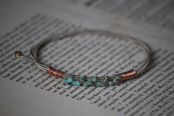Guitar String Bracelet with Turquoise Hue Glass Beads and Copper Detail