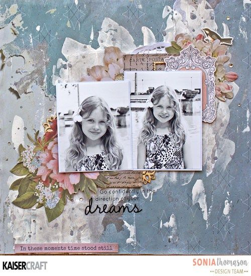 'Dreams' Mixed Media layout by Sonia Thomason Design Team for Kaisercraft using their 'Cherry Tree Lane' collection. (January 2017) Saved from www.kaisercraft.com.au/blog - Wendy Schultz ~ Mixed Media.