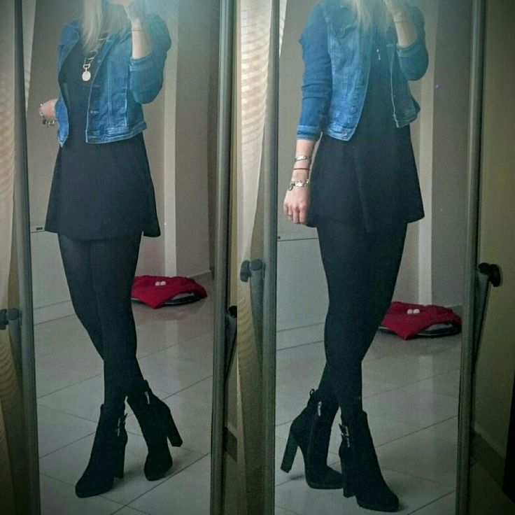 Rainy day outfit: denim jacket, black t-shirt dress, black tights, black suede leather high heels boots, statement necklace