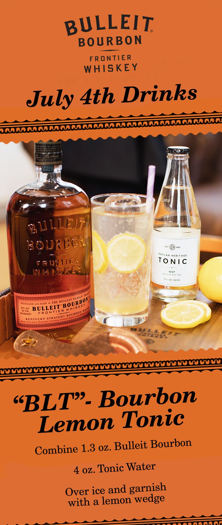"Celebrate 4th of July with a round of Bulleit ""BLT"" cocktails - Bourbon Lemon Tonic. With just a few ingredients—this simple and fresh cocktail is great for a hot summer day. Whether you're having a BBQ with friends or relaxing with family, everyone will enjoy this ice cold mixed drink."