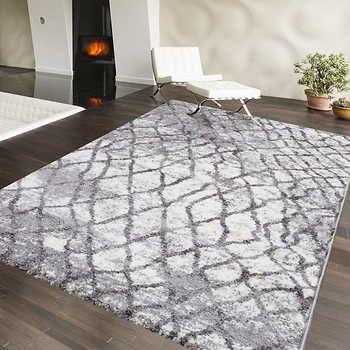 eCarpetGallery Loft I Grey and Ivory Shag Area Rug