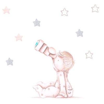 """Vinilo infantil personalizado """"Mirando las estrellas"""""""