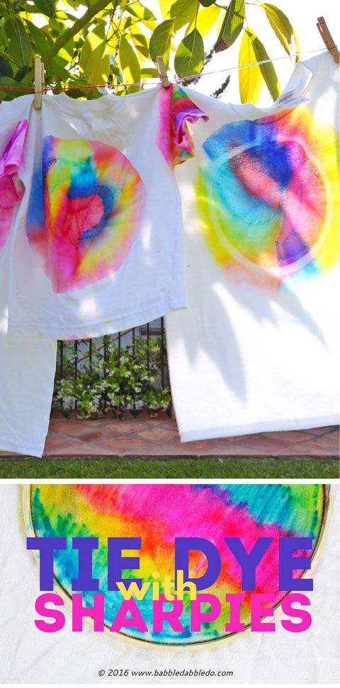 Learn how to make Sharpie Tie Dye T-Shirts and turn it into a color mixing experiment as well!