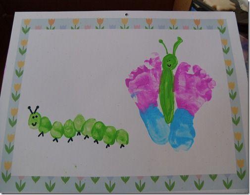 caterpillar handprint calendar   Caterpillar butterfly handprint calendar   preschool activities