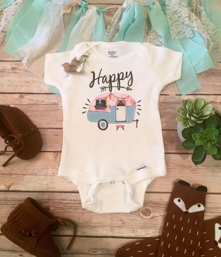 Happy Camper Onesie®, Baby Girl Clothes, Baby Shower Gift, Boho Baby Clothes, Camping Onesie, Cute Baby Clothes, Cute Onesies, Hippie Baby by BittyandBoho on Etsy https://www.etsy.com/listing/277377976/happy-camper-onesie-baby-girl-clothes