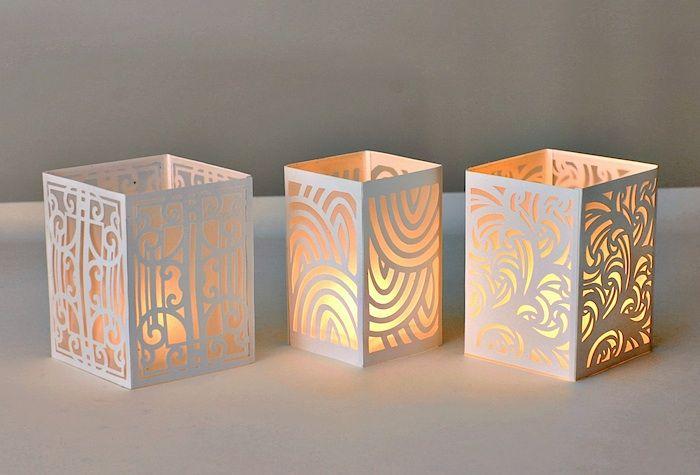Tea light lanterns made with Cricut Explore, by Gaila's Paper Crafts.