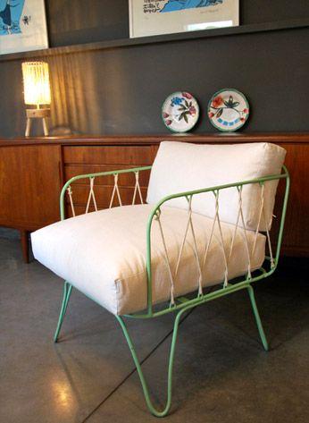 Honor d coration marseille fauteuil 50 39 s fer et coussin for Autrefois home decoration marseille