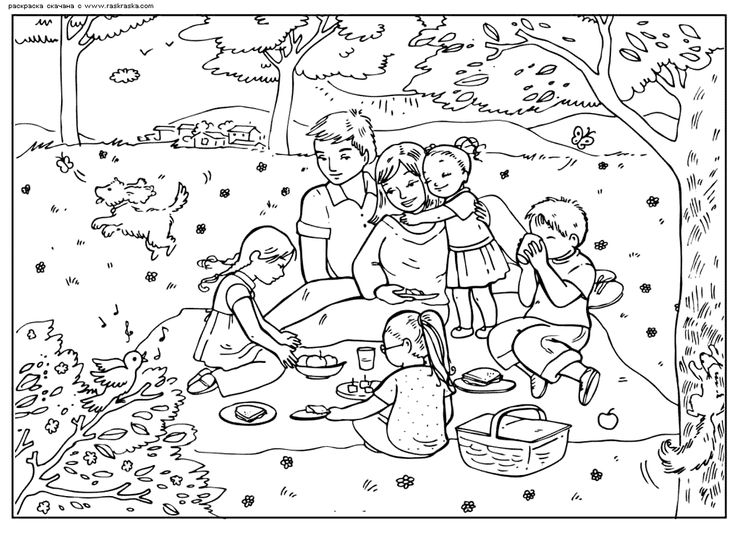 Heres A Really Lovely Detailed Colouring Page Of An Idyllic Family Picnic For The Kids To Get On