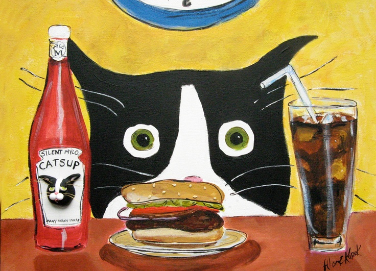 Cat Art - Tuxedo Cat with Hamburger - 5x7 Print of Original Painting. $9.00, via Etsy.