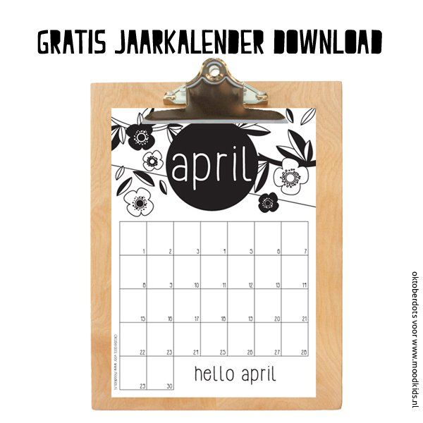 APRIL gratis jaarkalender download