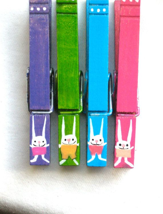 BUNNIES hand painted Easter clothespin magnets by SugarAndPaint, $10.00