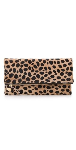 Who doesn't love a little leo? Clare Vivier Fold Over Haircalf Clutch