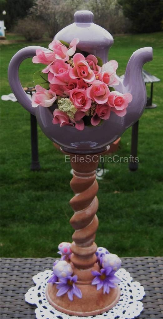 18inch Tall Hollow Whimsical Teapot Centerpiece by EdieSChicCrafts