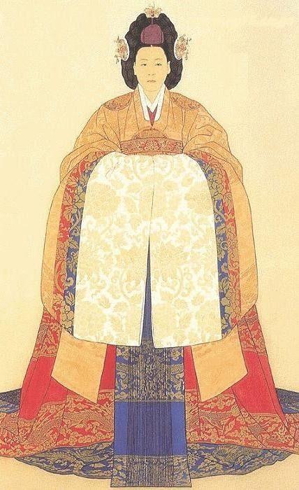 Portrait of Korean Empress Myeongseong in royal hanbok, late 19th century.