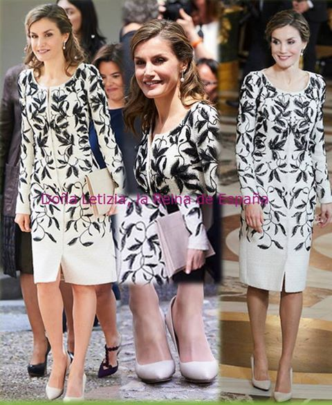 Queen Letizia wore the dress she wore for the first time on the national day in October 2016. She combined Magrit shoes, Magrit bag