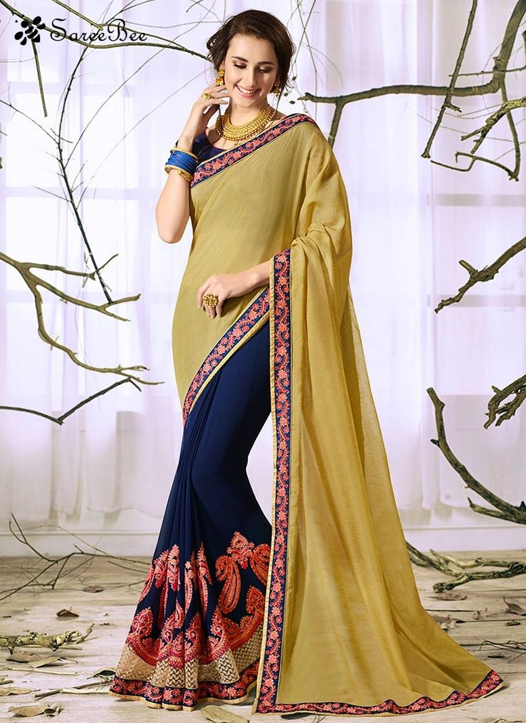 Prodigious Faux Georgette Lace Work Designer Half N Half Saree  Fashion and style always depends on good color and fantastic combination of shades and so we create best shades to enhance your beauty and personality. Be your own style diva with this beige and navy blue faux georgette designer half n half saree. The brilliant attire creates a dramatic canvas with amazing embroidered and lace work. Comes with matching blouse.