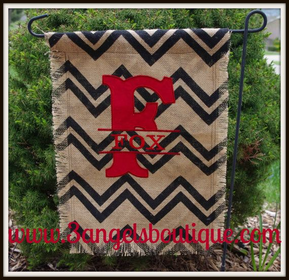 Personalized Chevron Burlap Garden Flag by 3angelsboutique on Etsy, $25.00