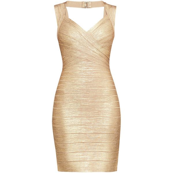 Herve Leger Iman Foil Bandage Dress ($1,350) ❤ liked on Polyvore featuring dresses, bandage cocktail dresses, zip dress, beige dress, hervé léger and bandage dresses