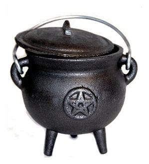 Cauldron - Cast Iron Pentagram Potbelly Cauldron with Lid (3 Inch ) | The Magickal Cat Online Pagan/Wiccan Shop